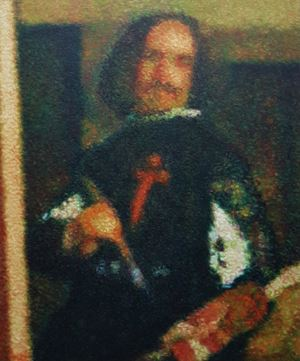 After Diego Velazquez (Detail - Self portrait (Lasmeninas) by Roldan Manok Ventura contemporary artwork