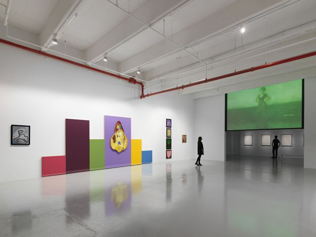 Exhibition view: Mike Kelley, Timeless Painting, Hauser & Wirth, 22ndStreet, New York (12 November 2019–25 January 2020). © Mike Kelley Foundation for the Arts. All Rights Reserved/VAGA at ARS, NY. Courtesy the Foundation and Hauser & Wirth. Photo: Dan Bradica.