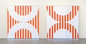 Fibres optiques — Orange. Diptyque CC1+DD1 by Daniel Buren contemporary artwork sculpture, installation, mixed media, textile