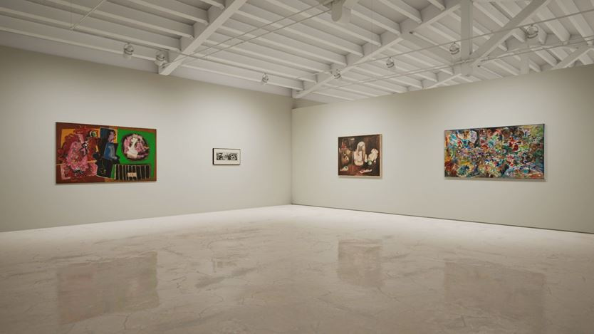 Exhibition view: Created in HWVR, Arshile Gorky & Jack Whitten, picturing Jack Whitten, Birth Of An Enigma(1964), Arshile Gorky, Untitled (Study for Mural) (1933–1934), Arshile Gorky, Pastoral (c. 1947) and Jack Whitten, Garden in Bessemer VI (1968). © (2019) The Arshile Gorky Foundation / Artists Rights Society (ARS) / © Jack Whitten Estate. Courtesy the estates and Hauser & Wirth.