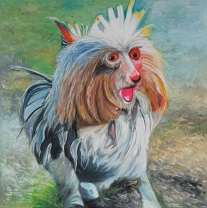 A Brown and White Dog Sitting in the Grass Holding a Frisbee in Its Mouth by Alexander Reben contemporary artwork painting, works on paper
