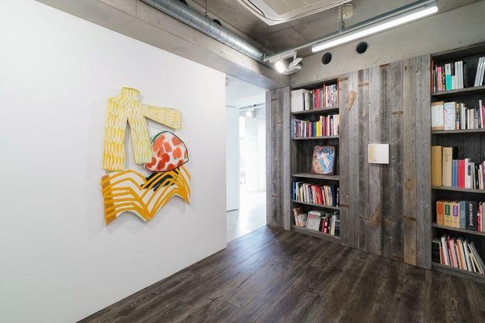 Installation view, artwork, left to right: Justine Hill; Jennifer Rochlin; Miya Ando
