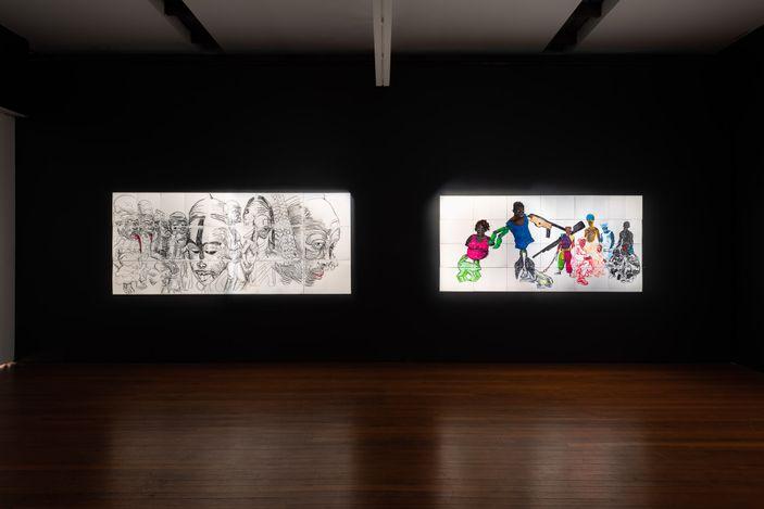 installation view, Pierre Mukeba:Black Emotion, Roslyn Oxley9 Gallery, Sydney (17 June – 17 July 2021). photo: Luis Power