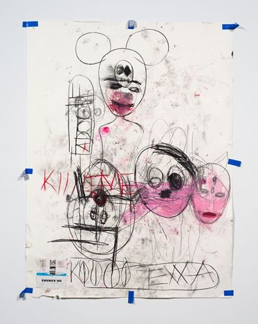 Paul McCarthy, A&E, EXXA, Santa Anita session (2020). Charcoal, pastel, and collage on paper. 257.8 x 203.2 cm. © Paul McCarthy. Courtesy Hauser & Wirth. Photo: Fredrik Nilsen.