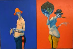 Ignorants by Michael Kvium contemporary artwork