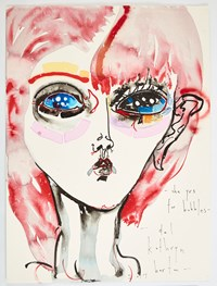 she yrs for bubbles by Del Kathryn Barton contemporary artwork mixed media