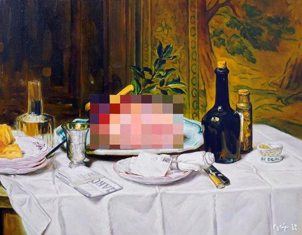 Rosit Mulyadi, (Un)seen #6 (2020). Oil on canvas, 82 x 102 cm. Courtesy Gajah Gallery.