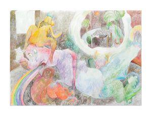 Sanguijuela, perro y arcoiris con mesa fantaseada by Liv Schulman contemporary artwork