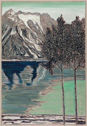 Birch Trees and Mountain by Billy Childish contemporary artwork