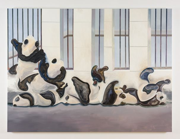 Guo Hongwei, Panda Variation (2018). Oil on linen. 150 x 200 cm. Courtesy the artist and               Simon Lee Gallery.