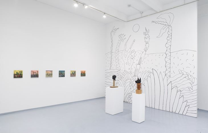 Exhibition view: Miguel Cardenas,Condo New York: Koppe Astner at Metro Pictures, New York (27 June–26 July 2019). Courtesy the artist and Koppe Astner, Glasgow.