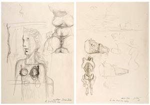 Études pour le tableau Visage Paranoïaque (recto) / Torse féminim, études de lèvres, d'un visage de profil, d'un prfil de buste féminim, d'un chapeau by Salvador Dalí contemporary artwork