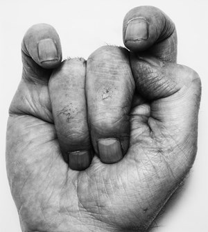 Self-Portrait (Front Hand n°6, Middle Fingers down) by John Coplans contemporary artwork