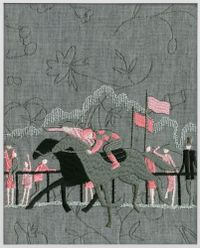 Jockey (grey, pink) by Tobias Kaspar contemporary artwork painting, works on paper