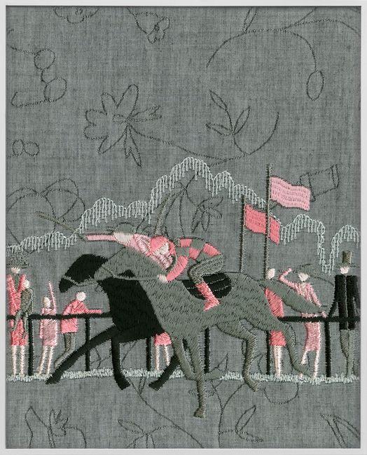 Jockey (grey, pink) by Tobias Kaspar contemporary artwork