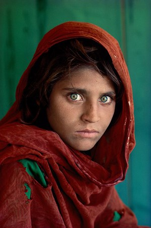 Sharbat Gula, the Afghan Girl, at Nasir Bagh refugee camp near Peshawar, Pakis by Steve McCurry contemporary artwork