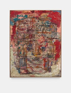 Head with serpents and drummer (red) by Daniel Crews-Chubb contemporary artwork