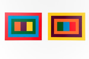 Pair of polychrome painting 5a, 5b by John Nixon contemporary artwork