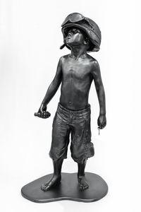 Boy Soldier (Graphite) by Schoony contemporary artwork sculpture