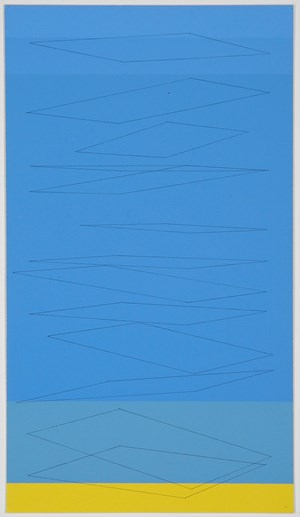 Wide planes fall on blue, yellow base strip by Kate Shepherd contemporary artwork
