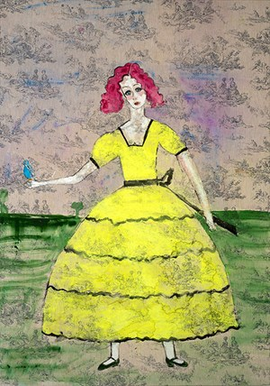 Scarlett O'Hara with a Budgerigar by Jenny Watson contemporary artwork