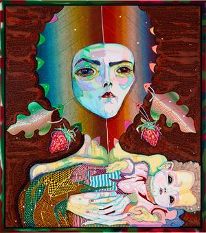 kiss me mother - kiss your darling by Del Kathryn Barton contemporary artwork