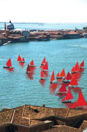 Red Regatta (Coppa del Presidente della Repubblica, Bacino San Marco) by Melissa McGill contemporary artwork