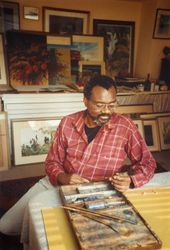Jesse Murry holding one of John Constable's brushes (1991) (detail). Courtesy David Zwirner. Photo: Richard Constable.