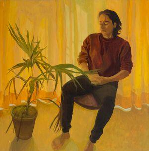 Umair with Plant by Fiza Khatri contemporary artwork