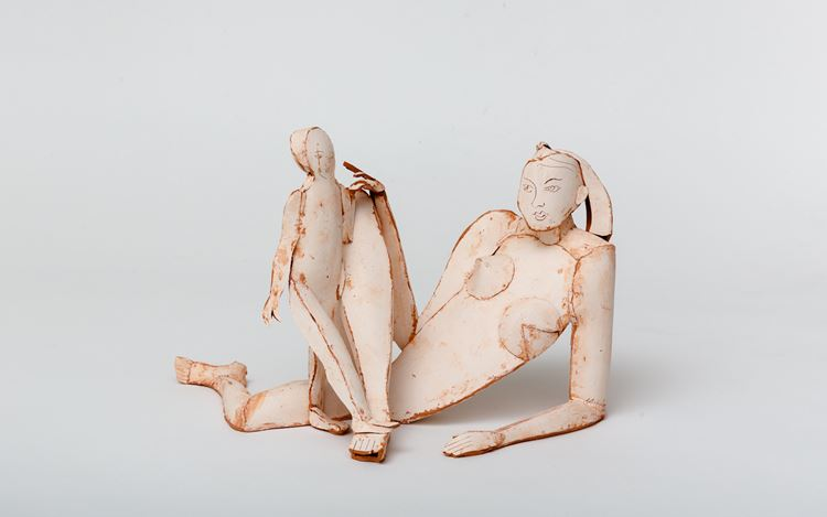 Ann Agee, Reclining Nude Madonna (2020). Earthenware, white slip. 22.9 x 34.9 x 21.6 cm. CourtesyP·P·O·W Gallery.