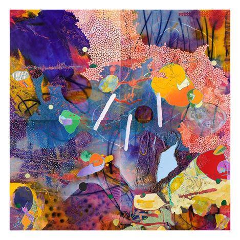 Evan Woodruffe, 25th April 2018 (2018). Acrylic, fabric, paper, gold leaf on linen, 200 x 200cm. Courtesy Gallery 9 Sydney.