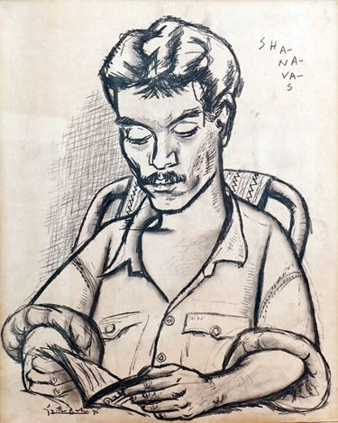 V.N. Joythi Basu, Shahnavas(1996). Charcoal on paper. 57 x 45 cm.Courtesy Galerie Mirchandani + Steinruecke, Mumbai.