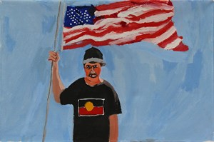 Self-Portrait (Stars and Stripes) by Vincent Namatjira contemporary artwork