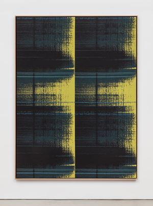 Negative Entropy (RSK Sanyo Broadcasting, Master Control Switchboard, Yellow Teal, Quad) by Mika Tajima contemporary artwork