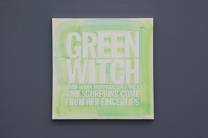 GREEN WITCH WITH A HAWK FACE'RIDES A CAMEL AND SCORPIONS COME FROM HER FINGERTIPS by John Giorno contemporary artwork