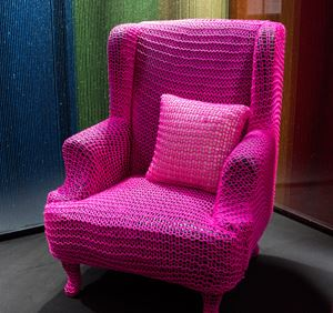 Yarn-Bombed Wingback Chair - Fuschia by Pierre Le Riche contemporary artwork