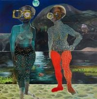 Moon shield by Ndidi Emefiele contemporary artwork painting, works on paper, mixed media