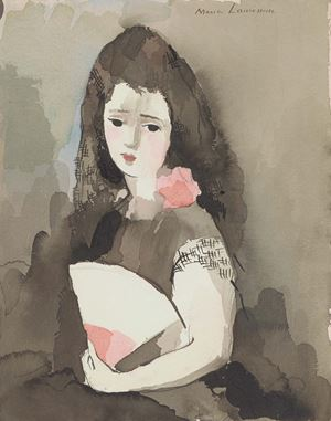 Espagnole with a Fan by Marie Laurencin contemporary artwork works on paper