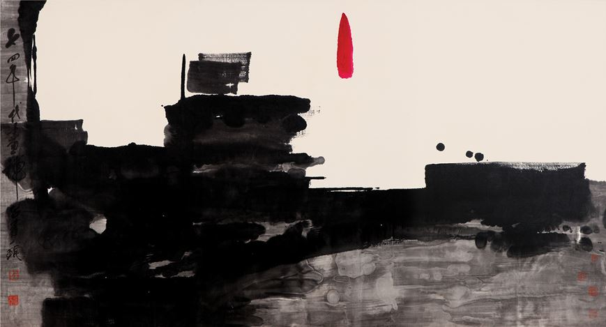 Lui Shou-Kwan,Zen Painting (1974). Chinese ink and colour on rice paper. 91.5 x 164.5 cm. Courtesy Alisan Fine Arts.