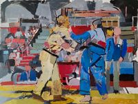 Judo Cuba vs Japan Tokyo by Clintel Steed contemporary artwork painting