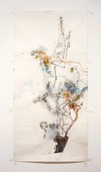 The Power of Movement in Plants - Dioscorides' Yam with Darwin's Diagram by John Wolseley contemporary artwork painting