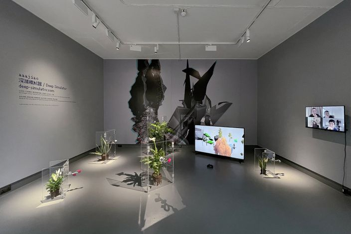 Exhibition view: aaajiao, Deep Simulator,Tabula Rasa Gallery, London (4 June–30 July 2021).CourtesyTabula Rasa Gallery.