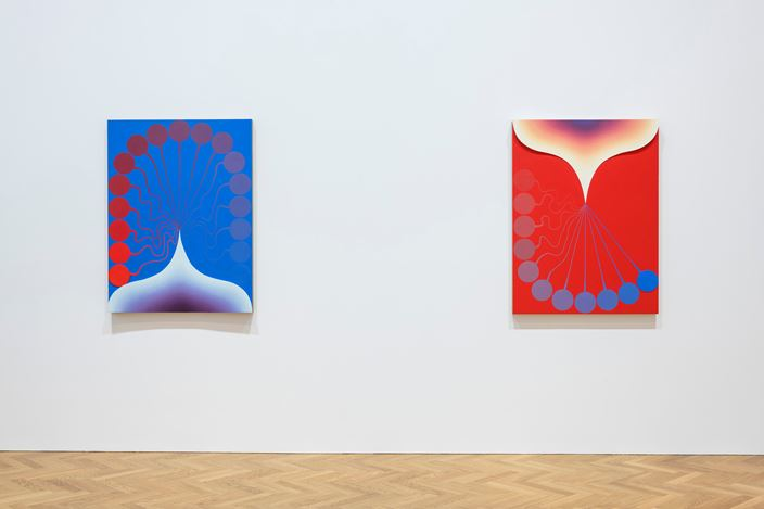 Exhibition view: Loie Hollowell, Pace Gallery, London(28 August–20 September 2018). © Loie Hollowell. Courtesy Pace Gallery.