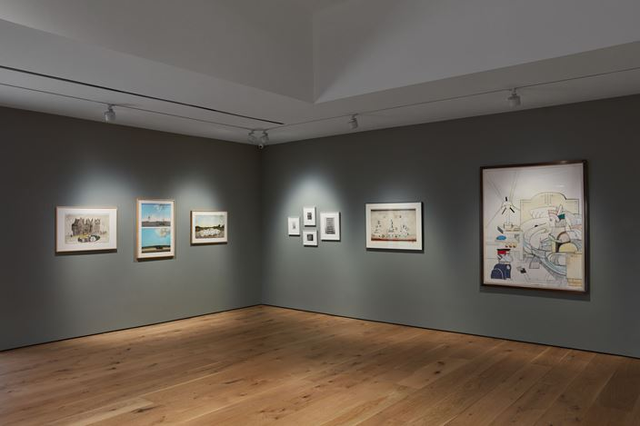 Exhibition view: Saul Steinberg, Pace Gallery, 68 Park Place, East Hampton (20 November 2020–17 January 2021). © The Saul Steinberg Foundation / Artists Rights Society (ARS), New York. Courtesy Pace Gallery.