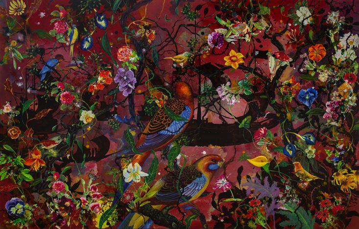 Priyantha Udagedara,Serendib 9,Mixed Media on Canvas, 101cm x 152cm. Courtesy Saskia Fernando Gallery.