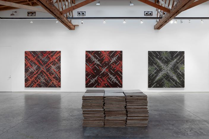 Exhibition view: Ding Yi at Sean Scully Studio, New York (6 October–17 November 2017). Courtesy the artist, Sean Scully Studio and Timothy Taylor Gallery, New York.