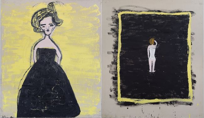 Black Frock, The Modest Corset (Malevitch) by Rose Wylie contemporary artwork