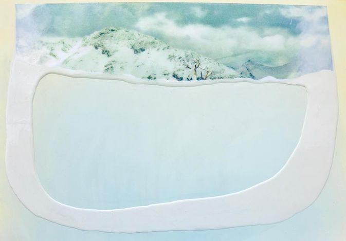 Eloise Kirk, Chamber (2020). Collage, resin, acrylic, 100 × 70 cm. Courtesy Gallery 9, Sydney.