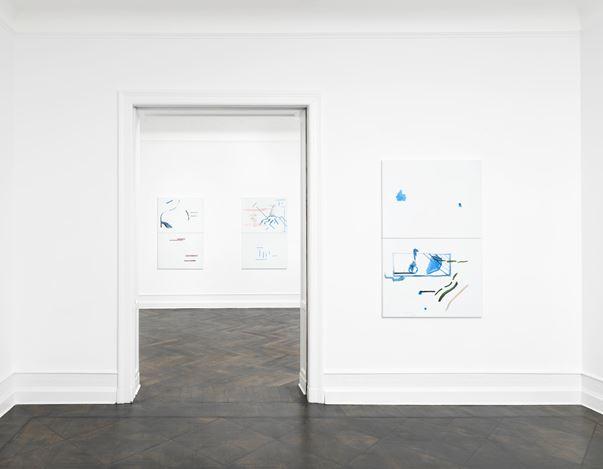 Exhibition view: Michael Krebber, Wirklichkeit erschlägt Kunst, Galerie Buchholz, Berlin (26 April–15 June 2019). Courtesy Galerie Buchholz.