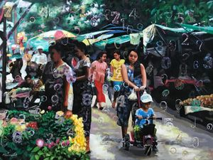 Flying Numbers (22) by Myint San Myint contemporary artwork